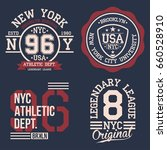 vintage labels set  athletic... | Shutterstock .eps vector #660528910