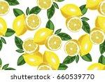 lemon with slice seamless... | Shutterstock .eps vector #660539770