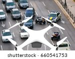 Drone with digital camera flying over a street: 3D rendering - stock photo