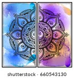 ethnic mandala over colorful... | Shutterstock .eps vector #660543130