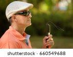hispanic blind man  latino... | Shutterstock . vector #660549688