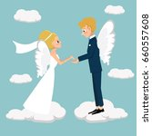 young married couple fly in...   Shutterstock .eps vector #660557608
