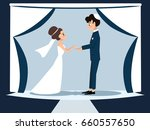young jewish couple at chuppah | Shutterstock .eps vector #660557650