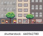 Pixel art street with trees, shop, cafe and happy people | Shutterstock vector #660562780