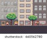pixel art street with trees ... | Shutterstock .eps vector #660562780