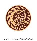 sticker in ethnic style. maori... | Shutterstock .eps vector #660565468