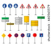 road symbols traffic signs... | Shutterstock .eps vector #660565579