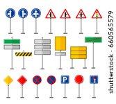 road symbols traffic signs... | Shutterstock .eps vector #660565579