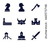 knight icons set. set of 9... | Shutterstock .eps vector #660573748