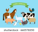 a set of farm animals in a... | Shutterstock .eps vector #660578350