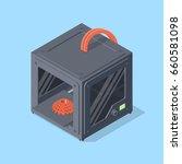 3d printer. isometric vector... | Shutterstock .eps vector #660581098