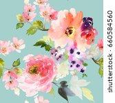 flying flowers on a blue... | Shutterstock . vector #660584560