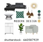 modern interior design vector...   Shutterstock .eps vector #660587929