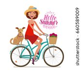 beautiful girl on bike. perfect ... | Shutterstock .eps vector #660589009