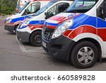 Small photo of Warsaw, Poland - June, 13, 2017: Ambulance vehicles in row on parking.
