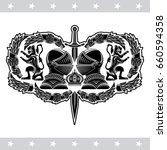 two knight helmets in center... | Shutterstock .eps vector #660594358