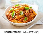 italian tuscan sausage penne in ... | Shutterstock . vector #660595054