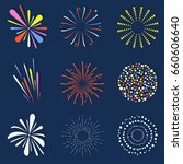 set of isolated fireworks.... | Shutterstock .eps vector #660606640