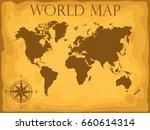 world map. old. retro. cartoon. ... | Shutterstock .eps vector #660614314