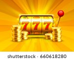 golden slot machine wins the... | Shutterstock .eps vector #660618280