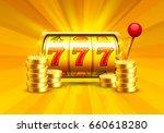 golden slot machine wins the... | Shutterstock .eps vector #660618280