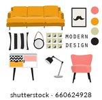 modern interior design vector... | Shutterstock .eps vector #660624928