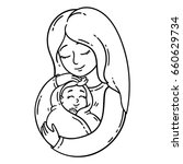 mother holding baby. isolated... | Shutterstock .eps vector #660629734