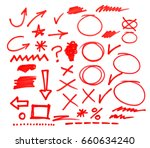 red marker symbols isolated on... | Shutterstock . vector #660634240