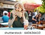 hungry freclkeld blonde girl... | Shutterstock . vector #660636610
