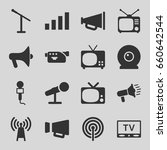 broadcast icons set. set of 16... | Shutterstock .eps vector #660642544