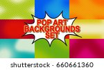 Pop Art Background Set With...
