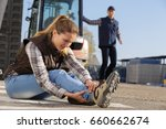 construction worker in an... | Shutterstock . vector #660662674