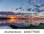 scandinavian lake in the sunset ... | Shutterstock . vector #660677830