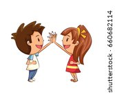 children high five  boy  girl | Shutterstock .eps vector #660682114