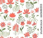 simple flower pattern. seamless ... | Shutterstock .eps vector #660688303