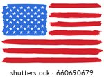 usa national flag. paint brush... | Shutterstock .eps vector #660690679