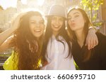 group of young beautiful female ... | Shutterstock . vector #660695710