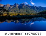 Mirror Lakes along the way to Milford Sound, New Zealand - stock photo