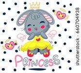 happy cartoon princess rabbit... | Shutterstock .eps vector #660704938