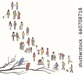tiny people walking in a queue  ... | Shutterstock .eps vector #660708718