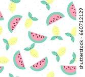 Pastel sweet fruits seamless pattern. Vector illustration.