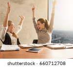 two excited young caucasian ... | Shutterstock . vector #660712708