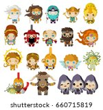 cute greek mythology gods and... | Shutterstock .eps vector #660715819