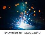 abstract welding sparks light ... | Shutterstock . vector #660723040
