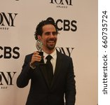 Small photo of NEW YORK CITY - JUNE 11 2017: the 71st annual Tony Awards recognized the best in live theater. Alex Lacamoire with award for best orchestration for Dear Evan Hansen