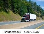 big classic rig burgundy custom ... | Shutterstock . vector #660736609