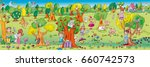 elven wild animals living in...   Shutterstock . vector #660742573