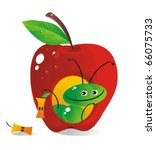 The cheerful caterpillar looks out of a small house-apple window - stock vector