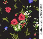 seamless pattern with poppy...   Shutterstock .eps vector #660758080
