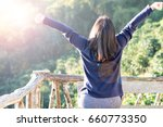 Small photo of Country home with wellbeing relaxed nice hair woman feeling good during vacation in natural resort interior. Happiness Happens Day